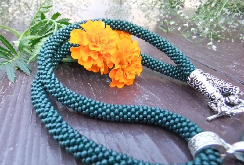 Последние дни лета Зеленый Бисер Preciosa, агат, мет Барыш Мария - фото 4