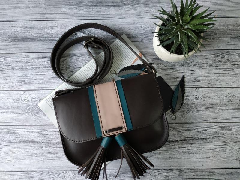 Шкіряна жіноча сумочка на плече Чорний Натуральна шкіра, фурніту Базелюк Оксана - фото 3