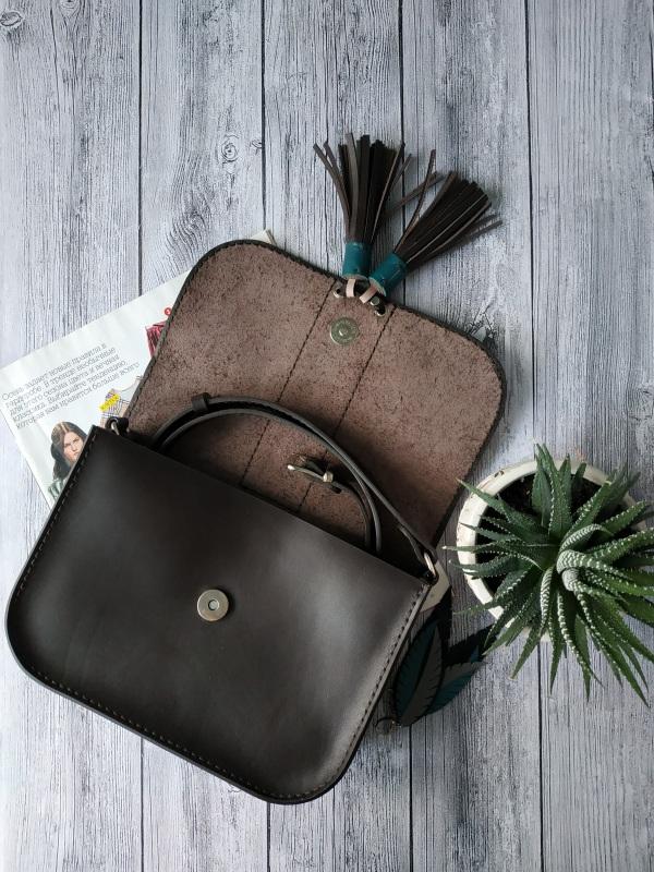 Шкіряна жіноча сумочка на плече Чорний Натуральна шкіра, фурніту Базелюк Оксана - фото 2