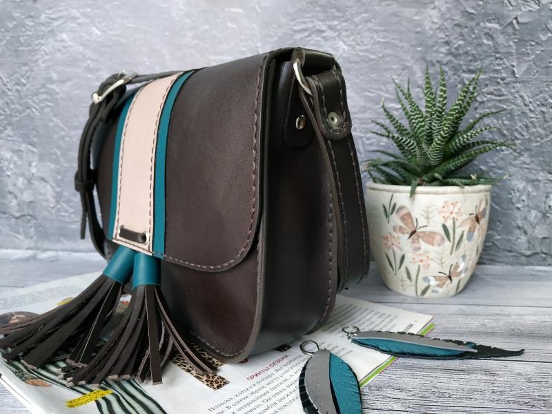 Шкіряна жіноча сумочка на плече Чорний Натуральна шкіра, фурніту Базелюк Оксана - фото 4