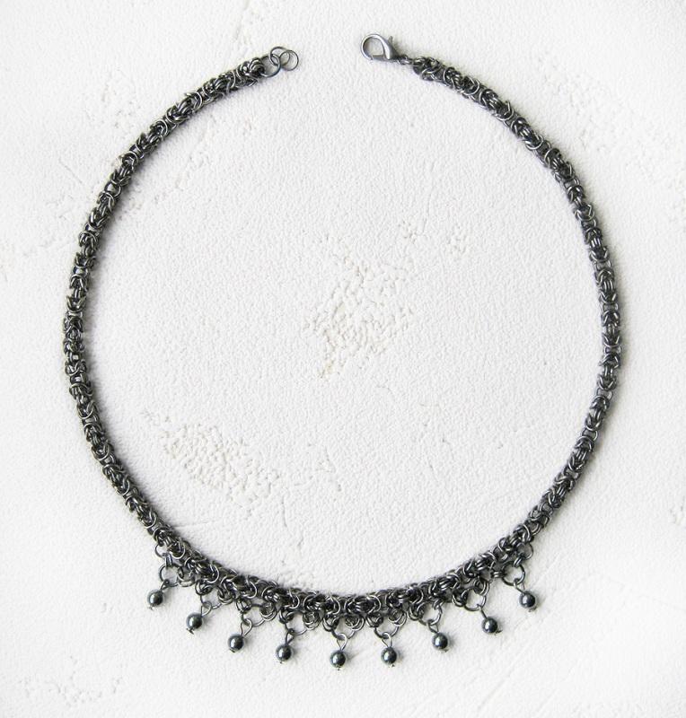 Черное плетеное колье цепочка с гематитом Черный бижутерный металл, гемати Бездитна Наталья - фото 2