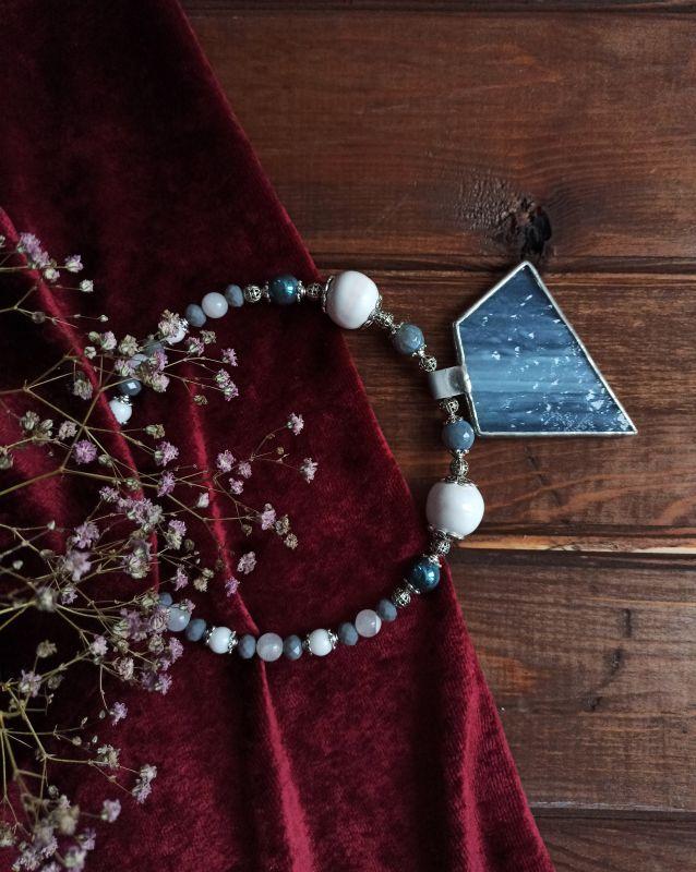 """Ожерелье """"Туманы"""" Разноцветный Керамика, агат, кристаллы Бжезинская Ирина - фото 2"""