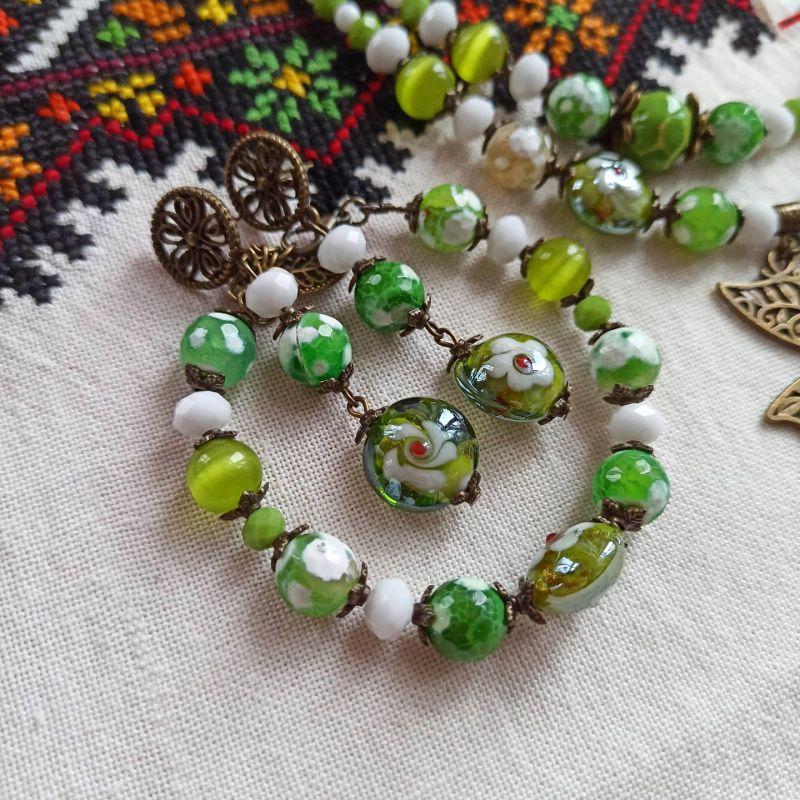 """Комплект из ожерелья, браслета и сережек """"Весне дорогу"""" Зеленый Агат, керамика, стекло, м Бжезинская Ирина - фото 3"""