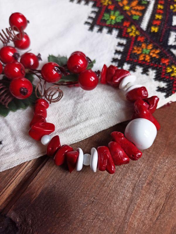 Браслет из коралла и перламутра Красный Коралл, перламутр, керами Бжезинская Ирина - фото 2