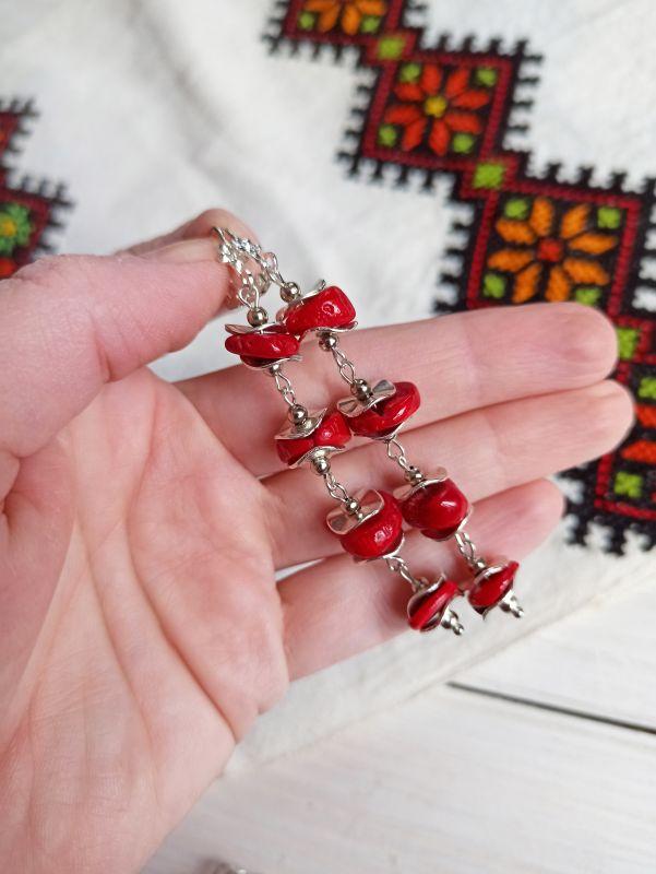 Комплект из браслета и сережек - натуральный коралл Красный Коралл, металлическая фур Бжезинская Ирина - фото 2