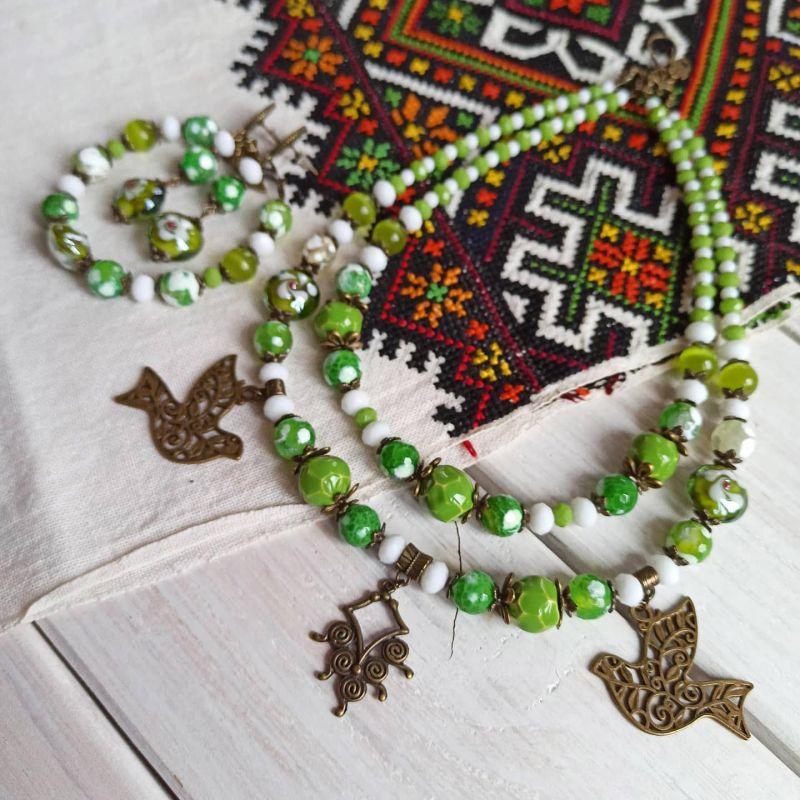 """Комплект из ожерелья, браслета и сережек """"Весне дорогу"""" Зеленый Агат, керамика, стекло, м Бжезинская Ирина - фото 1"""