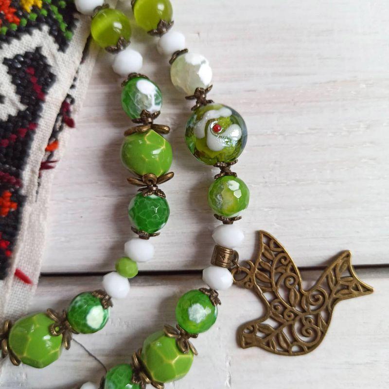 """Комплект из ожерелья, браслета и сережек """"Весне дорогу"""" Зеленый Агат, керамика, стекло, м Бжезинская Ирина - фото 2"""