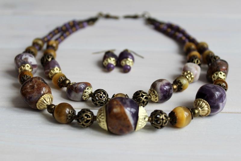 Комплект из ожерелья и сережек Атлантида Разноцветный аметист, тигровый глаз, м Бжезинская Ирина - фото 2