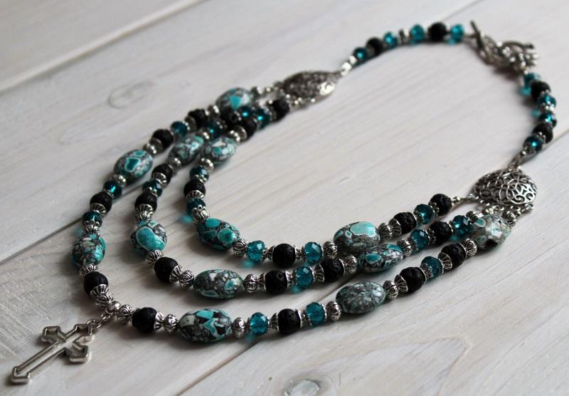 Ожерелье мечты Разноцветный лава, кристаллы, прессова Бжезинская Ирина - фото 4