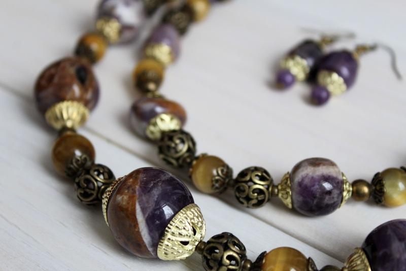 Комплект из ожерелья и сережек Атлантида Разноцветный аметист, тигровый глаз, м Бжезинская Ирина - фото 4