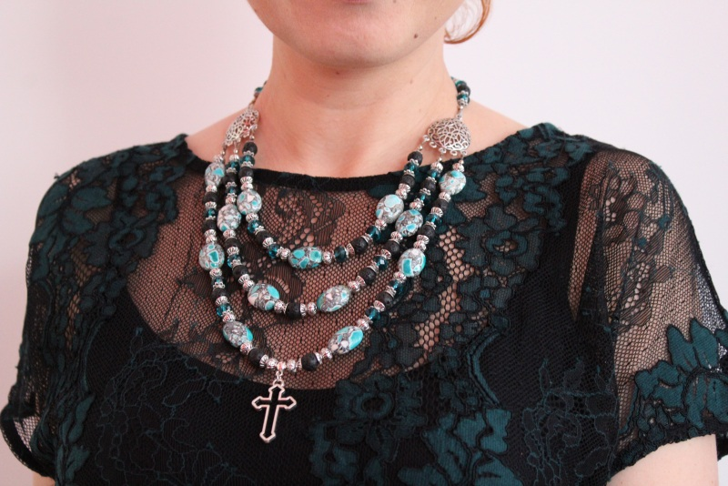 Ожерелье мечты Разноцветный лава, кристаллы, прессова Бжезинская Ирина - фото 1