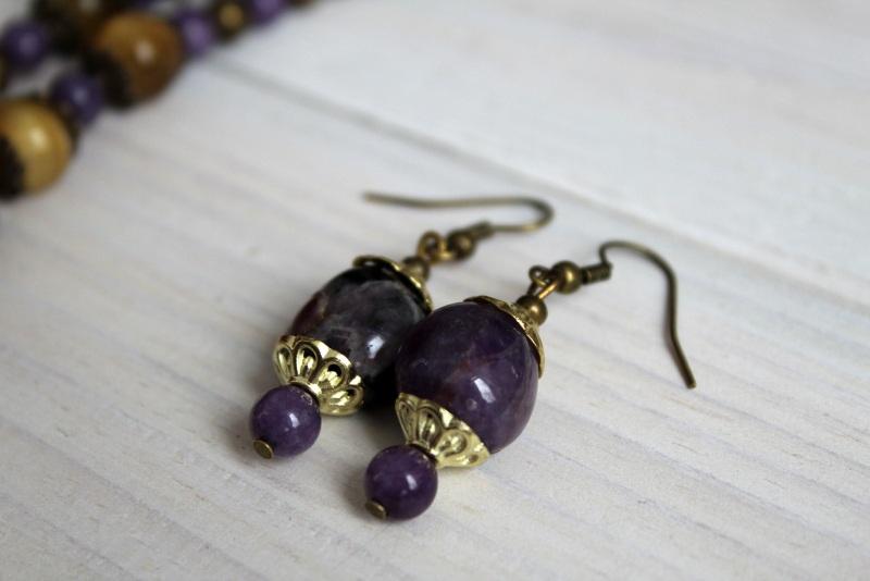 Комплект из ожерелья и сережек Атлантида Разноцветный аметист, тигровый глаз, м Бжезинская Ирина - фото 3