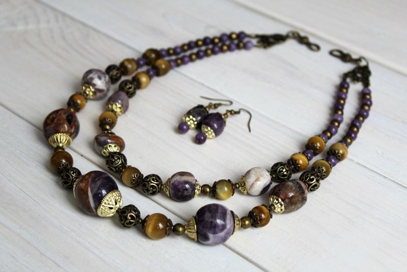 Комплект из ожерелья и сережек Атлантида Разноцветный аметист, тигровый глаз, м Бжезинская Ирина - фото 1
