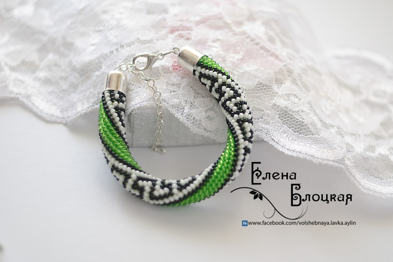 Грек Зеленый Чешский бисер, джинсовая Блоцкая Елена - фото 1