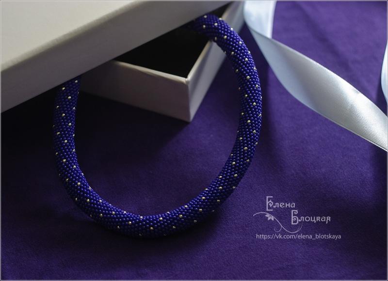 Звездная ночь Фиолетовый Бисер чешский, хлопковая Блоцкая Елена - фото 1