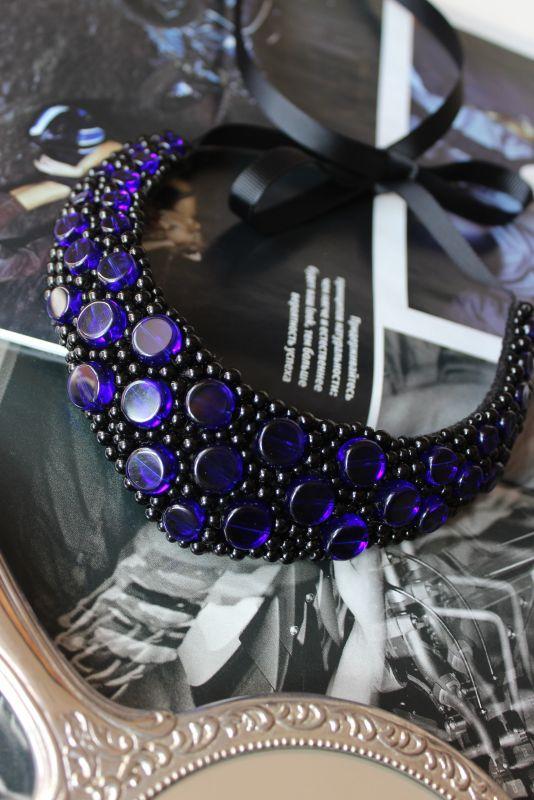 Колье минималистическое Синий Стеклянные бусины. Подши Боер Лидия - фото 1
