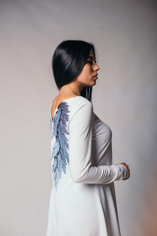 """Платье """"Крылья"""" Белый хлопок с вискозой NadiraStyle - фото 1"""