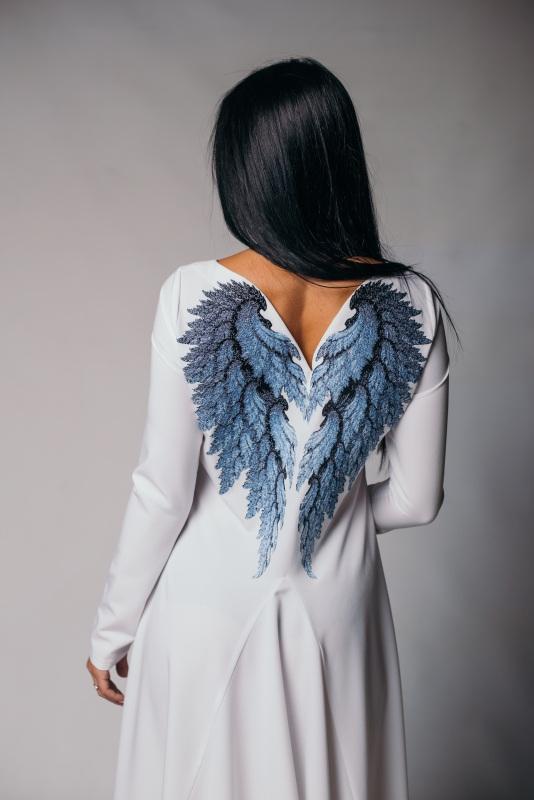 """Платье """"Крылья"""" Белый хлопок с вискозой NadiraStyle - фото 2"""
