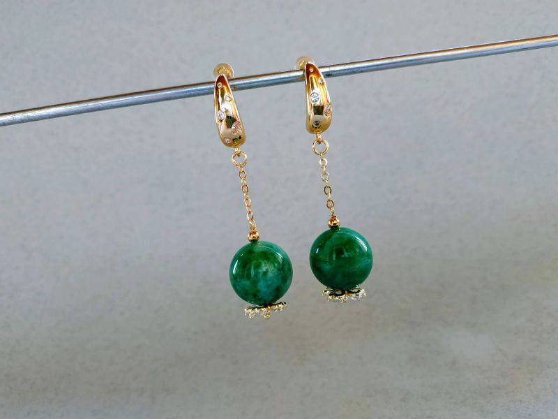 Серьги из коллекции «Arbre d`amour» Арт. E272788ADA Зеленый Нефрит зеленый, кристаллы Богомолова Светлана - фото 6