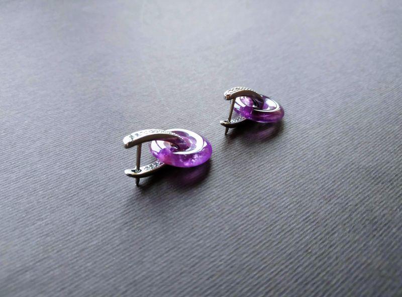 Серьги из коллекции «Roue de la Fortune» Арт. E1288RDLF Фиолетовый Аметист, кристаллы Swarov Богомолова Светлана - фото 3