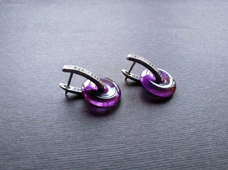 Серьги из коллекции «Roue de la Fortune» Арт. E1288RDLF Фиолетовый Аметист, кристаллы Swarov Богомолова Светлана - фото 1