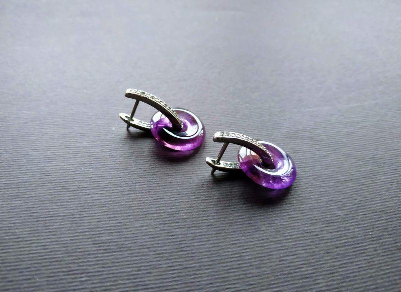 Серьги из коллекции «Roue de la Fortune» Арт. E1288RDLF Фиолетовый Аметист, кристаллы Swarov Богомолова Светлана - фото 5
