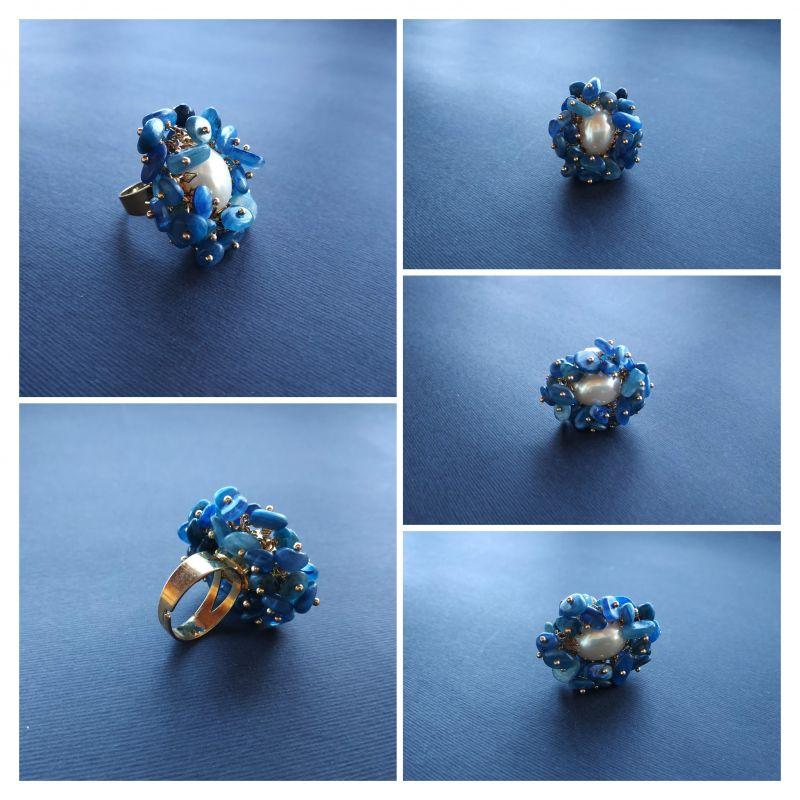 Кольцо из коллекции «Jardins De L`amour» Арт. R14920JDLA Синий Кианит, перламутр, латунь Богомолова Светлана - фото 2