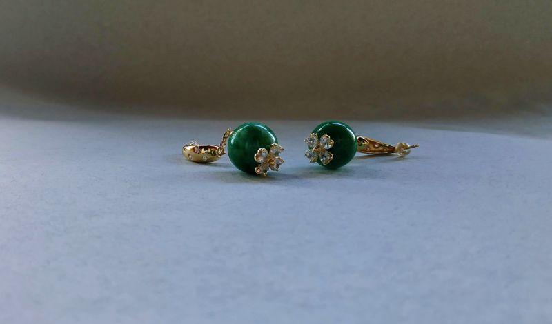 Серьги из коллекции «Arbre d`amour» Арт. E272788ADA Зеленый Нефрит зеленый, кристаллы Богомолова Светлана - фото 8
