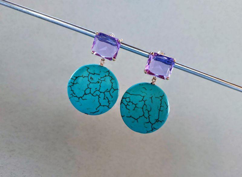 Серьги из коллекции «Purple Sunset» Арт. E9788PS  Говлит (бирюзовый), крист Богомолова Светлана - фото 2