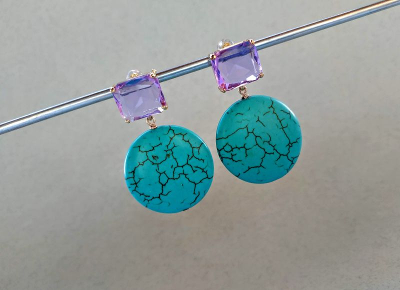 Серьги из коллекции «Purple Sunset» Арт. E9788PS  Говлит (бирюзовый), крист Богомолова Светлана - фото 3