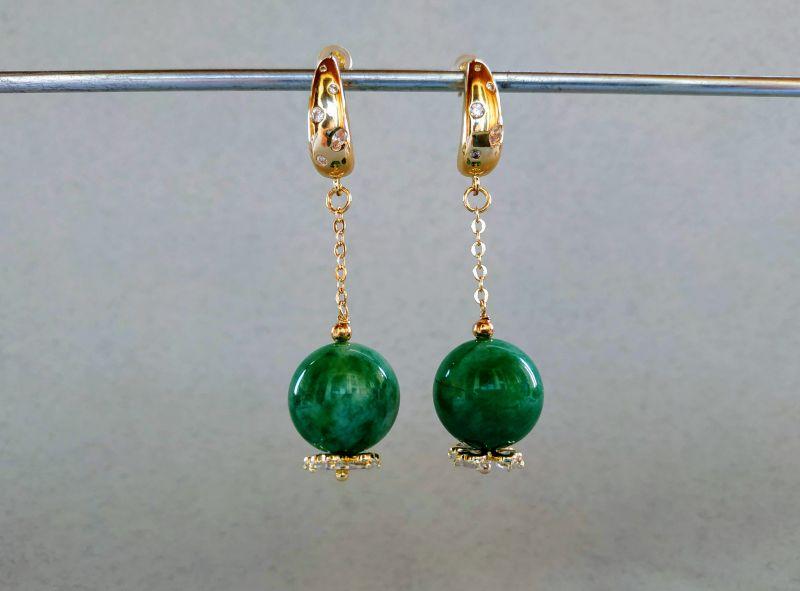 Серьги из коллекции «Arbre d`amour» Арт. E272788ADA Зеленый Нефрит зеленый, кристаллы Богомолова Светлана - фото 3