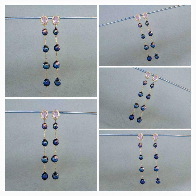 Серьги из коллекции «London Sky» E13788LS Синий Жемчуг пресноводный (сини Богомолова Светлана - фото 2