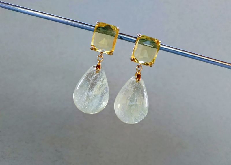 Серьги из коллекции «Soleil dans un verre» Арт. 8788SDUV Белый Лунный камень (санидин), Богомолова Светлана - фото 2