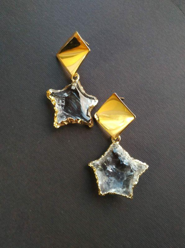 Серьги из коллекции «Jouet de hochet» Арт.E13788JDH Желтый Горный хрусталь, латунь, Богомолова Светлана - фото 1