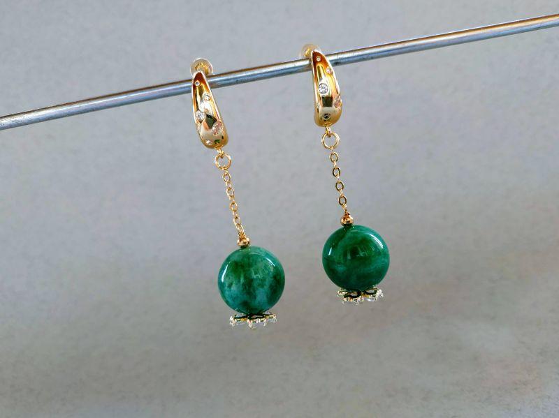 Серьги из коллекции «Arbre d`amour» Арт. E272788ADA Зеленый Нефрит зеленый, кристаллы Богомолова Светлана - фото 4