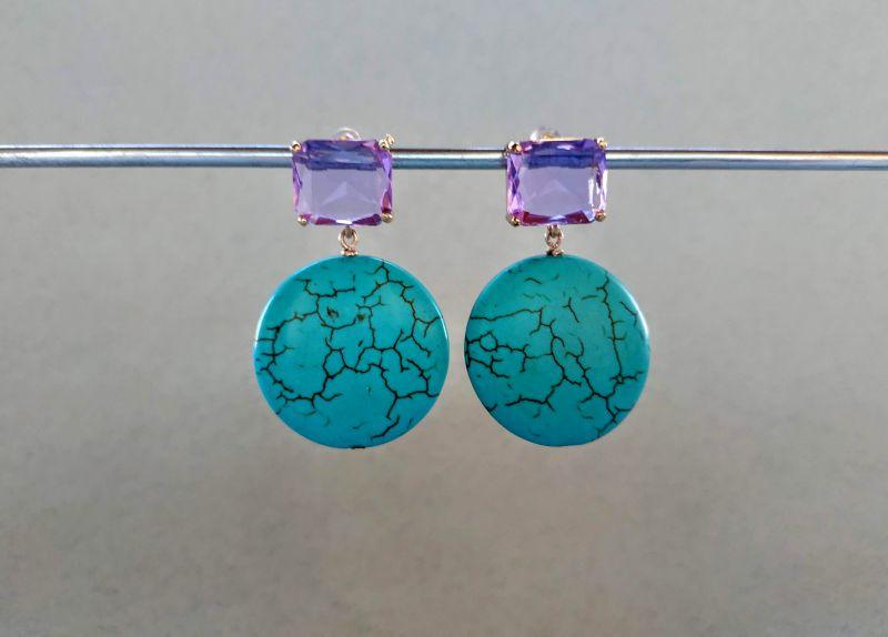 Серьги из коллекции «Purple Sunset» Арт. E9788PS  Говлит (бирюзовый), крист Богомолова Светлана - фото 1