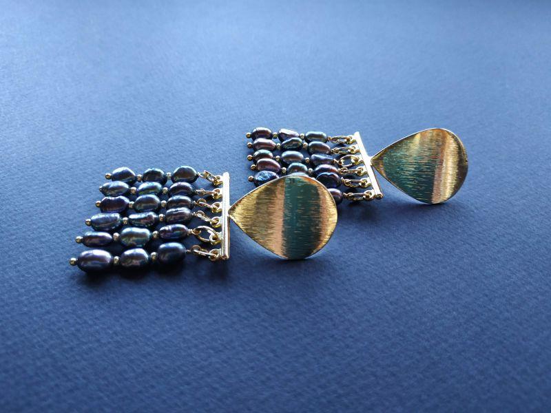 Серьги из коллекции «Tau Kita» Арт. E31719TK Голубой Жемчуг пресноводный (серо Богомолова Светлана - фото 1