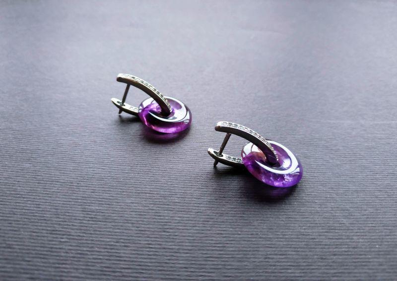 Серьги из коллекции «Roue de la Fortune» Арт. E1288RDLF Фиолетовый Аметист, кристаллы Swarov Богомолова Светлана - фото 4