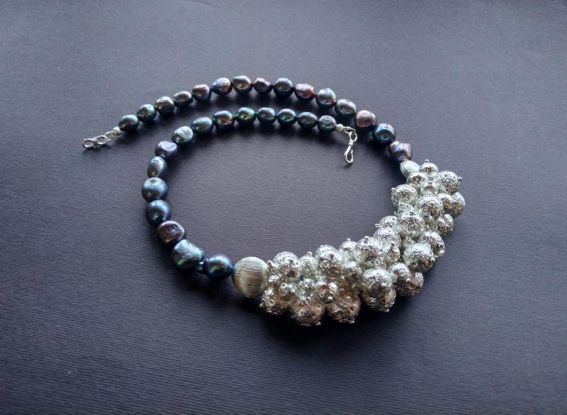 Ожерелье из коллекции «Star sea» Арт. N7388SS Синий Жемчуг пресноводный (серо Богомолова Светлана - фото 5