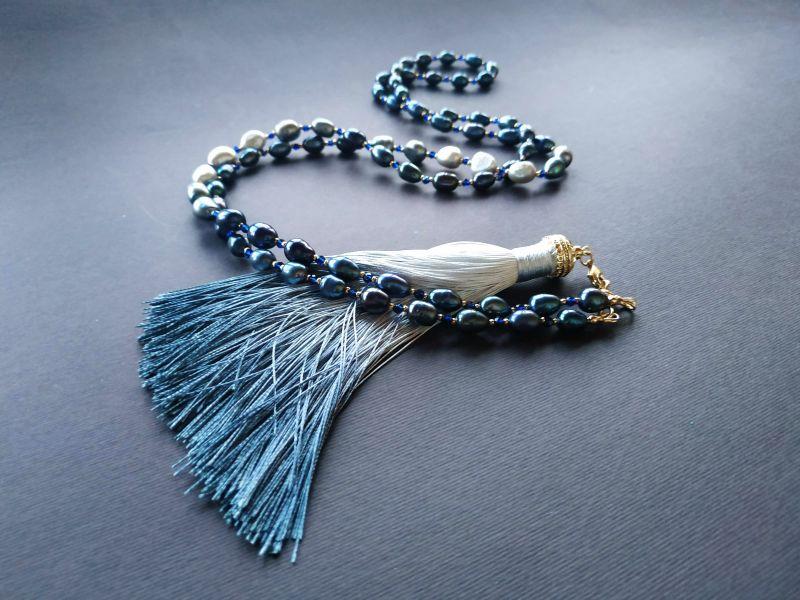 Ожерелье в стиле «Sautoire» из коллекции «Ebb and Flow» Арт. N2201021EAF Черный Жемчуг пресноводный (черн Богомолова Светлана - фото 6