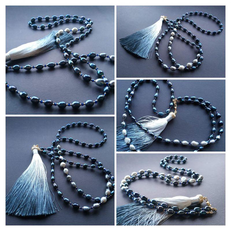 Ожерелье в стиле «Sautoire» из коллекции «Ebb and Flow» Арт. N2201021EAF Черный Жемчуг пресноводный (черн Богомолова Светлана - фото 5
