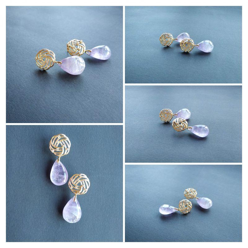 Серьги из коллекции «Piece and Organza» Арт. E78882P&O Фиолетовый Аметист, кристаллы Swarov Богомолова Светлана - фото 8