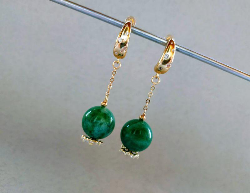 Серьги из коллекции «Arbre d`amour» Арт. E272788ADA Зеленый Нефрит зеленый, кристаллы Богомолова Светлана - фото 5