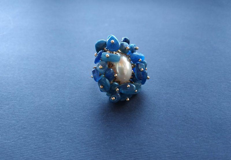 Кольцо из коллекции «Jardins De L`amour» Арт. R14920JDLA Синий Кианит, перламутр, латунь Богомолова Светлана - фото 8