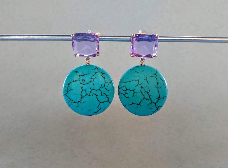 Серьги из коллекции «Purple Sunset» Арт. E9788PS  Говлит (бирюзовый), крист Богомолова Светлана - фото 4