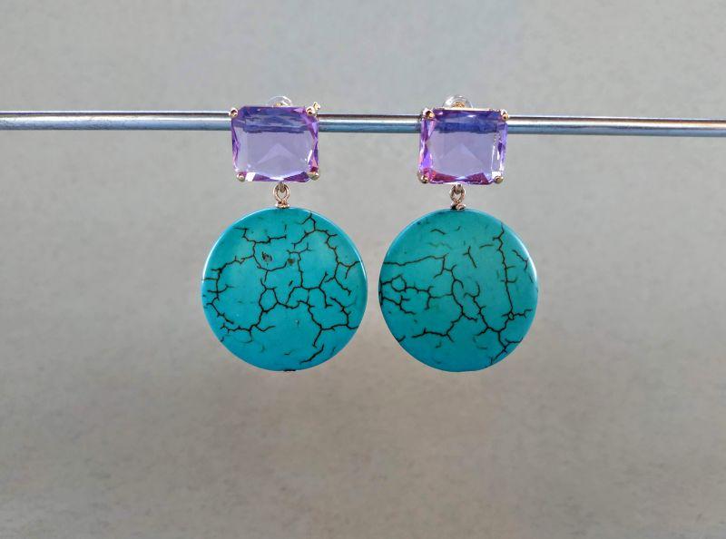 Серьги из коллекции «Purple Sunset» Арт. E9788PS  Говлит (бирюзовый), крист Богомолова Светлана - фото 5