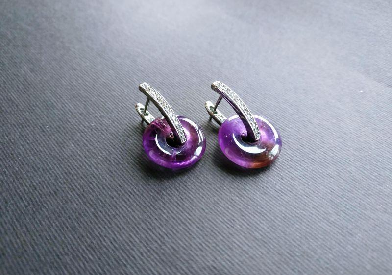 Серьги из коллекции «Roue de la Fortune» Арт. E1288RDLF Фиолетовый Аметист, кристаллы Swarov Богомолова Светлана - фото 8