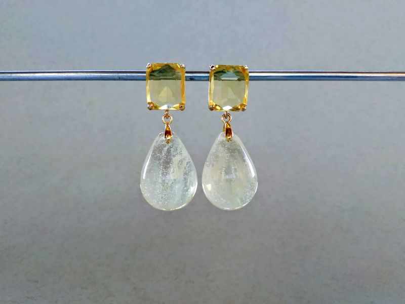 Серьги из коллекции «Soleil dans un verre» Арт. 8788SDUV Белый Лунный камень (санидин), Богомолова Светлана - фото 1