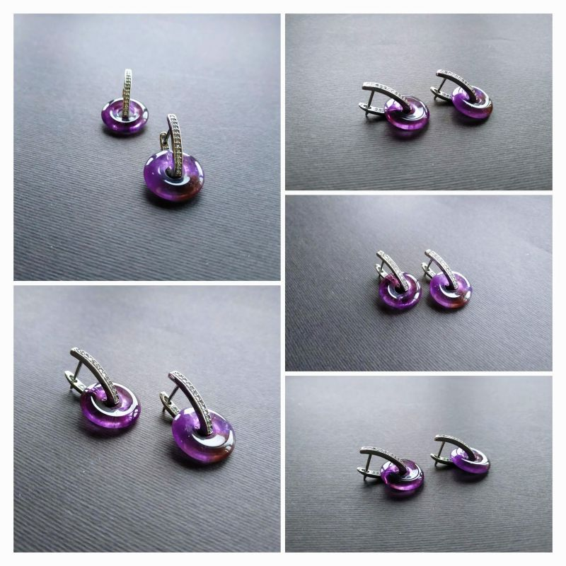 Серьги из коллекции «Roue de la Fortune» Арт. E1288RDLF Фиолетовый Аметист, кристаллы Swarov Богомолова Светлана - фото 2