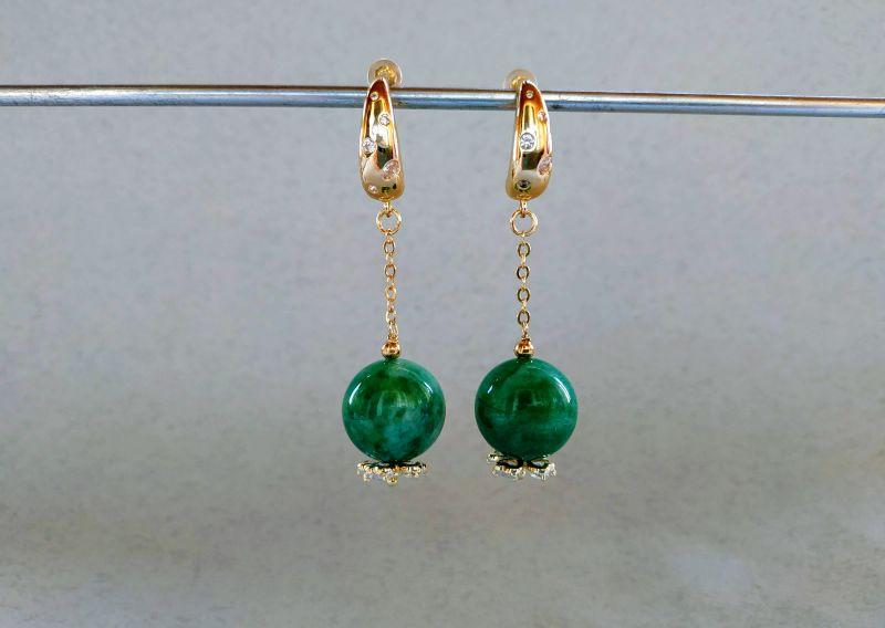 Серьги из коллекции «Arbre d`amour» Арт. E272788ADA Зеленый Нефрит зеленый, кристаллы Богомолова Светлана - фото 1